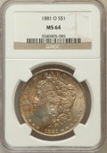 Morgan Dollars: , 1881-O $1 MS64 NGC. NGC Census: (3954/494). PCGS Population(3379/567). Mintage: 5,708,000. Numismedia Wsl. Price for probl...