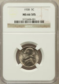 Jefferson Nickels, 1938 5C MS66 Five Full Steps NGC. NGC Census: (0/0). PCGSPopulation (158/10). Numismedia Wsl. Price for problem free NGC/...