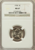 Jefferson Nickels, 1938 5C MS67 NGC. NGC Census: (184/0). PCGS Population (20/0).Mintage: 19,515,364. Numismedia Wsl. Price for problem free ...