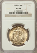 Walking Liberty Half Dollars: , 1946-D 50C MS66 NGC. NGC Census: (2149/112). PCGS Population(1828/49). Mintage: 2,151,000. Numismedia Wsl. Price for probl...