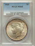 Peace Dollars: , 1925 $1 MS65 PCGS. PCGS Population (6926/1584). NGC Census:(9940/1833). Mintage: 10,198,000. Numismedia Wsl. Price for pro...