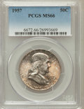 Franklin Half Dollars: , 1957 50C MS66 PCGS. PCGS Population (793/12). NGC Census: (595/28).Mintage: 5,100,000. Numismedia Wsl. Price for problem f...