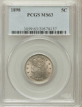 Liberty Nickels: , 1898 5C MS63 PCGS. PCGS Population (95/306). NGC Census: (78/242).Mintage: 12,532,087. Numismedia Wsl. Price for problem f...
