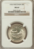 Commemorative Silver: , 1936 50C Wisconsin MS64 NGC. NGC Census: (653/2938). PCGSPopulation (1310/4213). Mintage: 25,015. Numismedia Wsl. Pricefo...