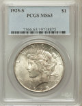 Peace Dollars: , 1925-S $1 MS63 PCGS. PCGS Population (2522/1804). NGC Census:(1574/1684). Mintage: 1,610,000. Numismedia Wsl. Price for pr...