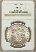 Morgan Dollars: , 1884-CC $1 MS64 NGC. NGC Census: (7761/5067). PCGS Population(15275/8593). Mintage: 1,136,000. Numismedia Wsl. Price for p...