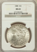 Morgan Dollars: , 1888 $1 MS65 NGC. NGC Census: (5632/1022). PCGS Population(3269/659). Mintage: 19,183,832. Numismedia Wsl. Price for probl...