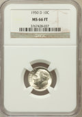 Roosevelt Dimes, 1950-D 10C MS66 Full Torch NGC. NGC Census: (270/225). PCGSPopulation (653/131). Mintage: 46,803,000. Numismedia Wsl. Pric...
