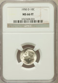 Roosevelt Dimes, 1950-D 10C MS66 Full Torch NGC. NGC Census: (271/225). PCGSPopulation (654/132). Mintage: 46,803,000. Numismedia Wsl. Pric...
