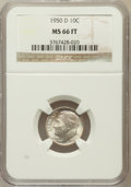 Roosevelt Dimes: , 1950-D 10C MS66 Full Bands NGC. NGC Census: (272/225). PCGSPopulation (654/132). Mintage: 46,803,000. Numismedia Wsl. Pric...
