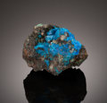 Minerals:Miniature, LIROCONITE. Wheal Gorland, St. Day United Mines (Poldice Mines), Gwennap, Camborne-Redruth-St. Day District, Cornwall, Eng...