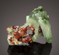 Minerals:Miniature, DIOPSIDE with HESSONITE. Ala Valley, Lanzo Valley, Sesia-LanzoZone, Torino Province, Piedmont, Italy. ...