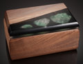 Lapidary Art:Boxes, CUSTOM WOOD BOX WITH INLAY FEATURING GREEN FLUORITE. ...