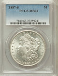 Morgan Dollars, 1887-S $1 MS63 PCGS. PCGS Population (2626/2108). NGC Census:(1560/1121). Mintage: 1,771,000. Numismedia Wsl. Price for pr...