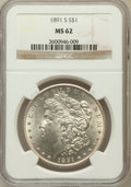 Morgan Dollars, 1891-S $1 MS62 NGC. NGC Census: (852/3256). PCGS Population(1266/4970). Mintage: 5,296,000. Numismedia Wsl. Price for prob...