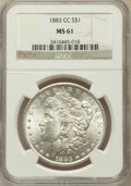 Morgan Dollars: , 1883-CC $1 MS61 NGC. NGC Census: (218/17679). PCGS Population(442/35576). Mintage: 1,204,000. Numismedia Wsl. Price for pr...
