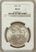 Morgan Dollars: , 1903 $1 MS64 NGC. NGC Census: (4342/2850). PCGS Population(4639/3680). Mintage: 4,652,755. Numismedia Wsl. Price for probl...