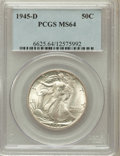 Walking Liberty Half Dollars: , 1945-D 50C MS64 PCGS. PCGS Population (3614/7623). NGC Census:(1827/6066). Mintage: 9,966,800. Numismedia Wsl. Price for p...