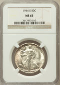 Walking Liberty Half Dollars: , 1944-S 50C MS63 NGC. NGC Census: (674/4769). PCGS Population(1699/7382). Mintage: 8,904,000. Numismedia Wsl. Price for pro...