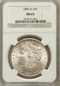 Morgan Dollars: , 1884-CC $1 MS63 NGC. NGC Census: (5686/12828). PCGS Population(11374/23868). Mintage: 1,136,000. Numismedia Wsl. Price for...
