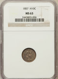 Seated Half Dimes: , 1857 H10C MS63 NGC. NGC Census: (141/369). PCGS Population(129/239). Mintage: 7,280,000. Numismedia Wsl. Price for problem...