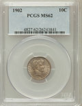 Barber Dimes: , 1902 10C MS62 PCGS. PCGS Population (34/114). NGC Census: (27/112).Mintage: 21,380,776. Numismedia Wsl. Price for problem ...