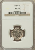 Buffalo Nickels: , 1929 5C MS64 NGC. NGC Census: (524/295). PCGS Population (845/719).Mintage: 36,446,000. Numismedia Wsl. Price for problem ...