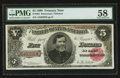 Large Size:Treasury Notes, Fr. 361 $5 1890 Treasury Note PMG Choice About Unc 58.. ...