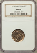 Buffalo Nickels: , 1938-D 5C MS66 NGC. NGC Census: (19615/1956). PCGS Population(28104/1593). Mintage: 7,020,000. Numismedia Wsl. Price for p...