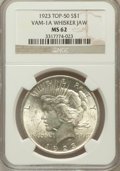 Peace Dollars, 1923 $1 Whisker Jaw MS62 NGC. TOP-50. VAM-1A. NGC Census:(4474/251558). PCGS Population (11085/162742). Mintage:30,800,00...