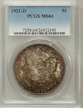 Morgan Dollars: , 1921-D $1 MS64 PCGS. PCGS Population (4939/1759). NGC Census:(5593/2225). Mintage: 20,345,000. Numismedia Wsl. Price for p...