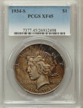 Peace Dollars: , 1934-S $1 XF45 PCGS. PCGS Population (385/3112). NGC Census:(317/2152). Mintage: 1,011,000. Numismedia Wsl. Price for prob...