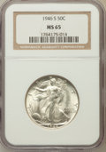 Walking Liberty Half Dollars: , 1946-S 50C MS65 NGC. NGC Census: (4062/1332). PCGS Population(5940/1673). Mintage: 3,724,000. Numismedia Wsl. Price for pr...