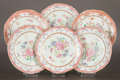 Ceramics & Porcelain, A SET OF SIX CHINESE EXPORT PORCELAIN FAMILLE ROSE PLATES . China, Qing Dynasty. 8-3/4 inches diameter (22.2 cm). ... (Total: 6 Items)