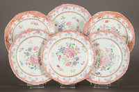 A SET OF SIX CHINESE EXPORT PORCELAIN FAMILLE ROSE PLATES China, Qing Dynasty 8-3/4 inches diameter (22.2 cm)<