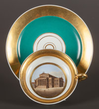 A BERLIN PORCELAIN TOPOGRAPHICAL CUP AND SAUCER Berlin, Germany, circa 1820 Marks: KPM (logo), (unde