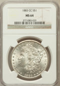 Morgan Dollars: , 1883-CC $1 MS64 NGC. NGC Census: (6713/5172). PCGS Population(14085/9505). Mintage: 1,204,000. Numismedia Wsl. Price for p...