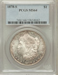 Morgan Dollars: , 1878-S $1 MS64 PCGS. PCGS Population (12839/4248). NGC Census:(14066/4470). Mintage: 9,774,000. Numismedia Wsl. Price for ...