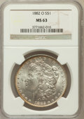 Morgan Dollars: , 1882-O $1 MS63 NGC. NGC Census: (5423/5942). PCGS Population(7333/5818). Mintage: 6,090,000. Numismedia Wsl. Price for pro...