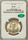 Walking Liberty Half Dollars: , 1935 50C MS66 NGC. CAC. NGC Census: (222/24). PCGS Population(430/34). Mintage: 9,162,000. Numismedia Wsl. Price for probl...