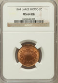 Two Cent Pieces: , 1864 2C Large Motto MS64 Red and Brown NGC. NGC Census: (546/673).PCGS Population (971/314). Mintage: 19,847,500. Numismed...