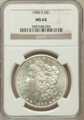 Morgan Dollars: , 1900-S $1 MS64 NGC. NGC Census: (887/217). PCGS Population(1579/605). Mintage: 3,540,000. Numismedia Wsl. Price for proble...