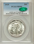Walking Liberty Half Dollars: , 1935 50C MS66 PCGS. CAC. PCGS Population (430/34). NGC Census:(222/24). Mintage: 9,162,000. Numismedia Wsl. Price for prob...