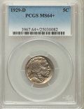 Buffalo Nickels, 1929-D 5C MS64+ PCGS. PCGS Population (524/223). NGC Census:(334/70). Mintage: 8,370,000. Numismedia Wsl. Price for proble...