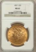 Liberty Double Eagles: , 1897 $20 MS63 NGC. NGC Census: (2559/321). PCGS Population(1376/205). Mintage: 1,383,261. Numismedia Wsl. Price for proble...