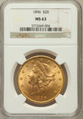 Liberty Double Eagles, 1896 $20 MS63 NGC. NGC Census: (1438/179). PCGS Population(884/134). Mintage: 792,500. Numismedia Wsl. Price for problem f...