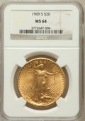 Saint-Gaudens Double Eagles: , 1909-S $20 MS64 NGC. NGC Census: (1371/233). PCGS Population(1829/311). Mintage: 2,774,925. Numismedia Wsl. Price for prob...