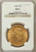 Liberty Double Eagles: , 1906 $20 MS61 NGC. NGC Census: (218/225). PCGS Population(161/398). Mintage: 69,500. Numismedia Wsl. Price for problemfre...