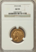 Indian Half Eagles, 1913-S $5 AU55 NGC. NGC Census: (367/1032). PCGS Population(169/491). Mintage: 408,000. Numismedia Wsl. Price for problem ...