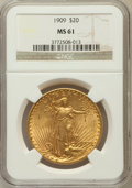 Saint-Gaudens Double Eagles: , 1909 $20 MS61 NGC. NGC Census: (285/673). PCGS Population(202/1466). Mintage: 161,282. Numismedia Wsl. Price for problemf...